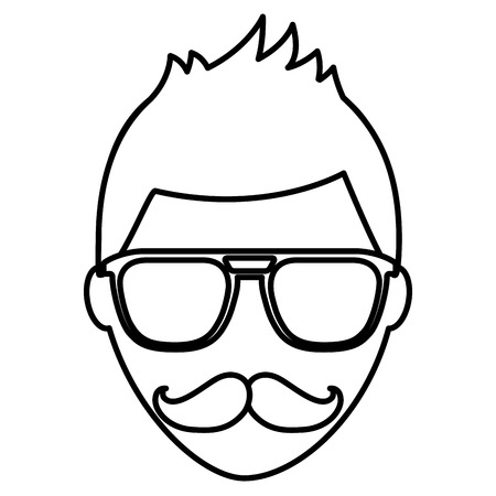 hipster face man mustache and eyeglasses vector illustration outline