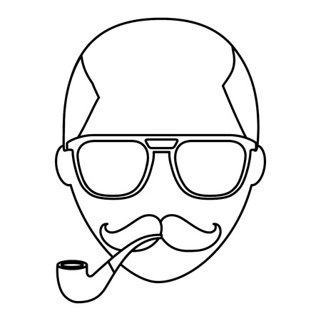 hipster face bald man mustache and eyeglasses smoking pipe vector illustration outline