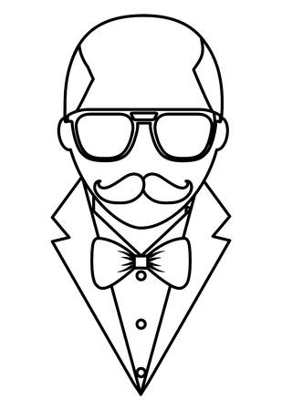 ヒップスターハゲ男口ひげと眼鏡エレガントなスーツベクターイラストアウトライン