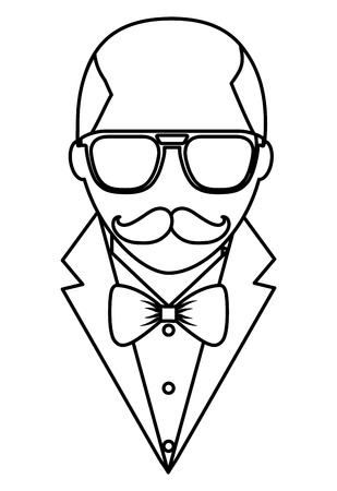 hipster bald man mustache and eyeglasses elegant suit vector illustration outline