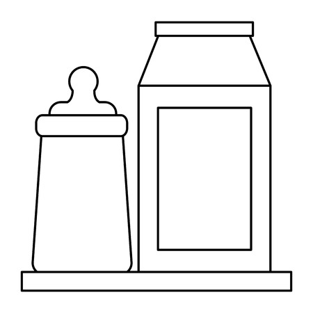 baby shower bottle milk and packaging vector illustration outline