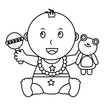 cute little baby holding frog and rattle toys vector illustration outline