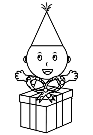 cute little baby boy with gift box party vector illustration outline Illustration