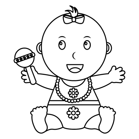 cute little baby girl holding toy rattle vector illustration outline