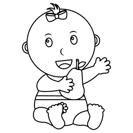 cute little baby girl sitting with a pear fruit vector illustration outline