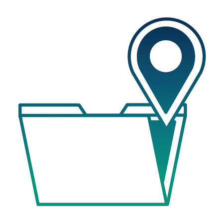 folder data digital pointer map location vector illustration  degraded color Illustration