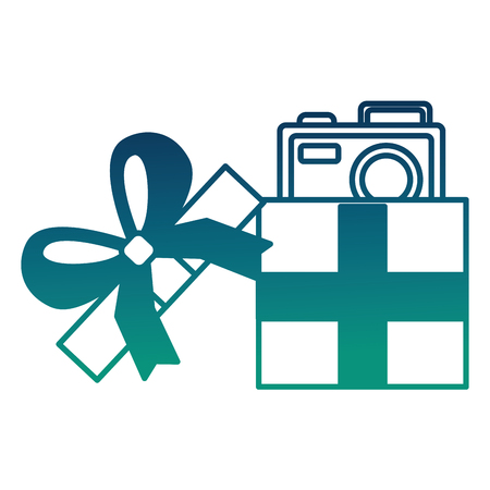 opened gift box with photo camera inside surprise vector illustration  degraded color Illusztráció