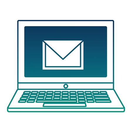 laptop email notification message social media vector illustration  degraded color Reklamní fotografie - 99749684