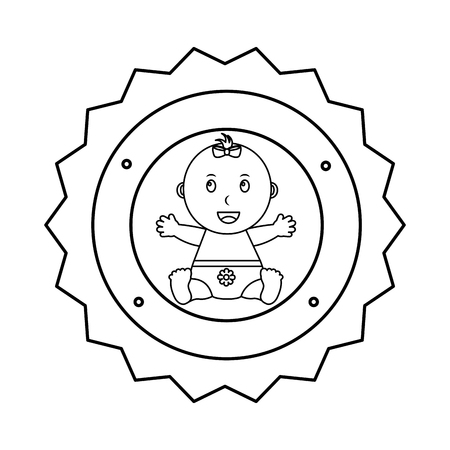 cute little girl sitting happy label baby shower vector illustration outline
