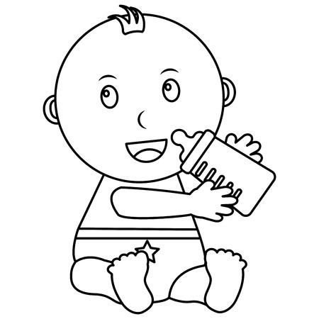 cute little baby sitting holding bottle milk vector illustration outline Illustration