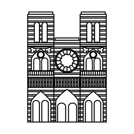 cathedral notre dame landmark architecture church in paris vector illustration outline  イラスト・ベクター素材