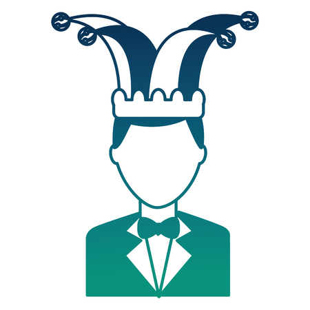 man elegant with suit and bowtie jester hat vector illustration  degraded color