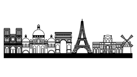 landmark paris france notre dame basilica sacred tower eiffel arch of triumph  vector illustration outline