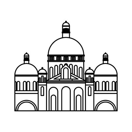 basilica sacred heart paris france church vector illustration outline