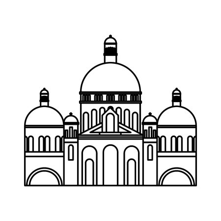 basilica sacred heart paris france church vector illustration outline
