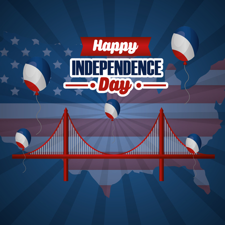happy independence day american brigde balloons vector illustration