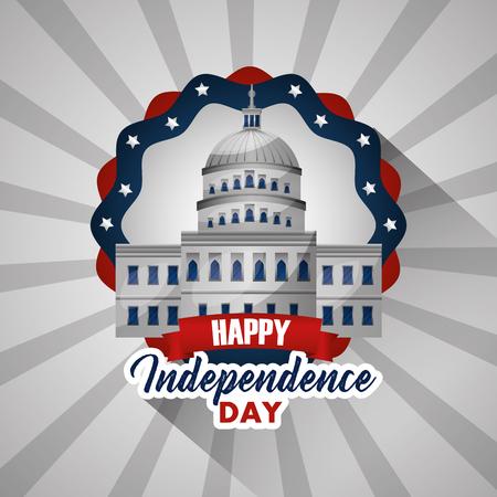 happy independence day white house washington happy day vector illustration Illustration