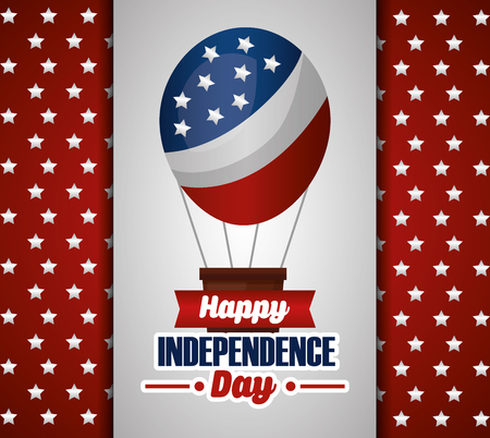 happy independence day hot air balloon red background with balls vector illustration Stock Illustratie