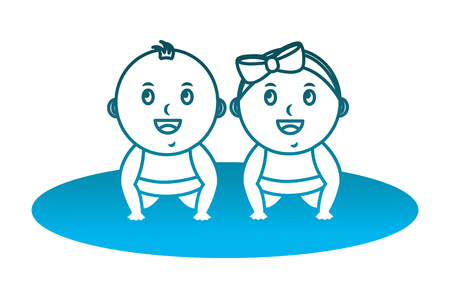 cute little baby boy a girl crawl on all fours vector illustration degraded blue color Ilustrace