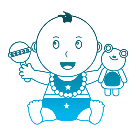 cute little baby holding frog and rattle toys vector illustration degraded blue color Illustration