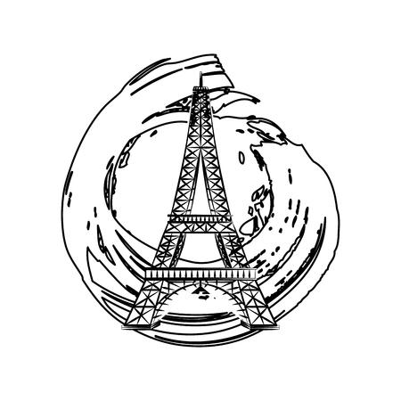 tower eiffel on paint grunge style vector illustration Ilustracja