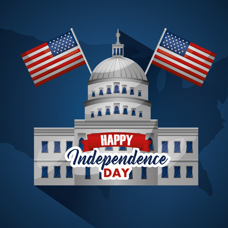 happy independence day white house with two flags happy day vector illustration