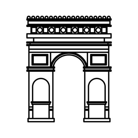 arch of triumph france paris monument vector illustration outline 矢量图像
