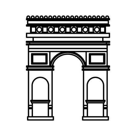 arch of triumph france paris monument vector illustration outline Illustration