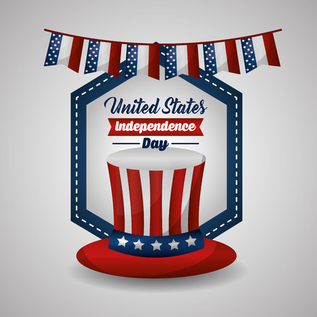 happy independence day celebration top hat with pennants vector illustration
