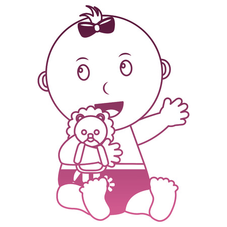 cute little baby girl embraced lion toy vector illustration degraded pink color