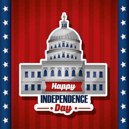 happy independence day white house with sing of celebration independence vector illustration