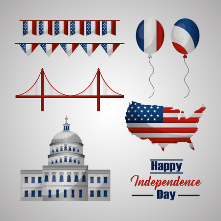happy independence day pennants bridge american flags hot air balloon vector illustration