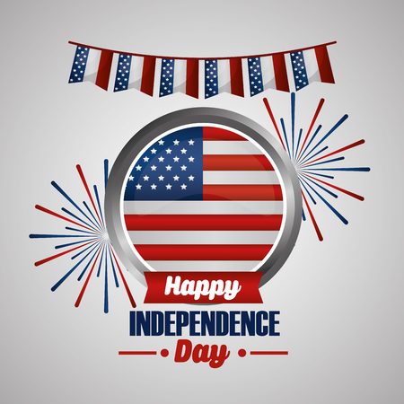 happy independence day circle with american flag fireworks celebration day vector illustration Çizim