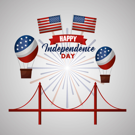 happy independence day hot air balloon in a bridge american flags vector illustration