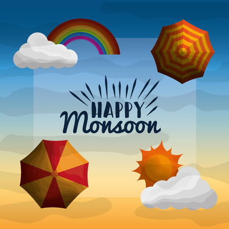 happy monsoon parasols sun clouds and rainbow gradient sky Stok Fotoğraf - 99750440