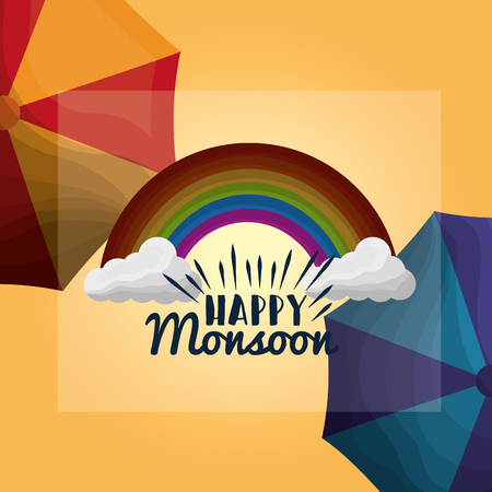 happy monsoon season beautiful rainbow clouds umbrellas poster Stok Fotoğraf - 99746675