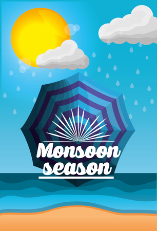 monsoon season weather rainy umbrella sun clouds beach