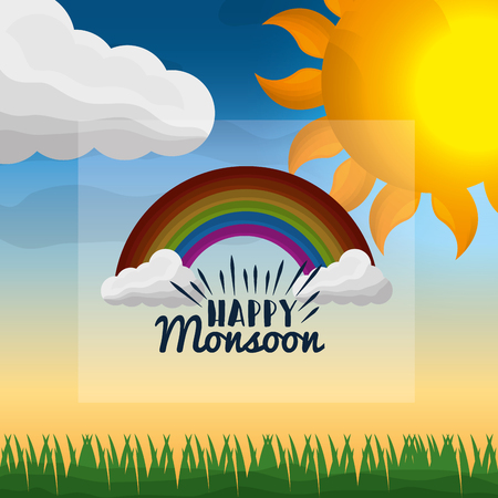 monsoon season field clouds sunshine day sky rainbow