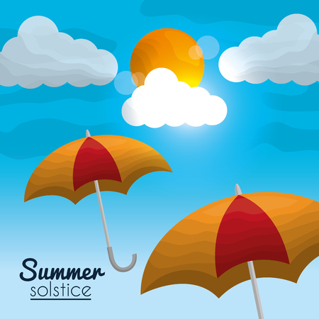 solstice d'été saison ciel soleil brillant nuages jour Vecteurs