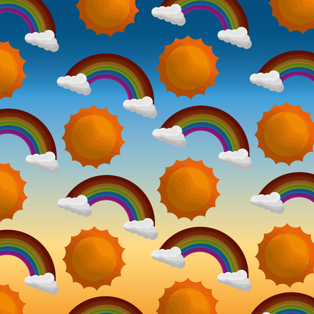 monsoon and rain season sun rainbows clouds background