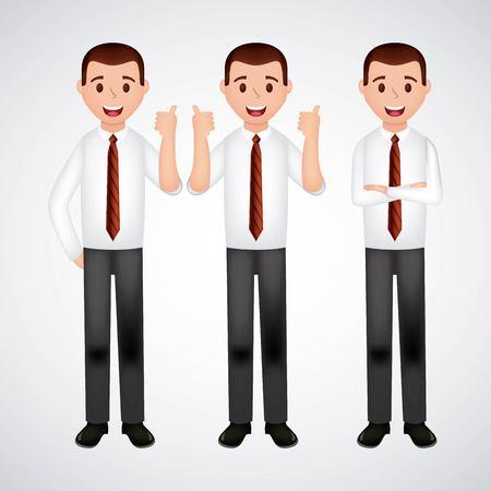 mens with tie hands gesture white blackground smiling vector illustration Illustration
