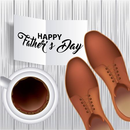 happy fathers day sign celebration dad top cup coffee shoes vector illustration