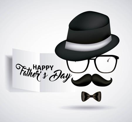 Gelukkige vaders dag hoge hoed met glazen snor en zwarte strik vector illustratie Stockfoto - 99746685