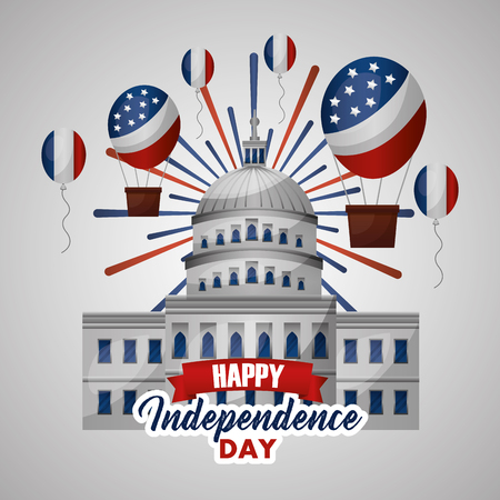 happy independence day hot air balloon white house celebration vector illustration Ilustrace