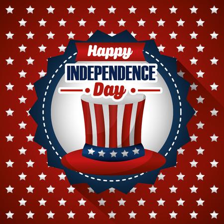 별 벡터 일러스트와 함께 행복 한 독립 기념일 축 하 모자