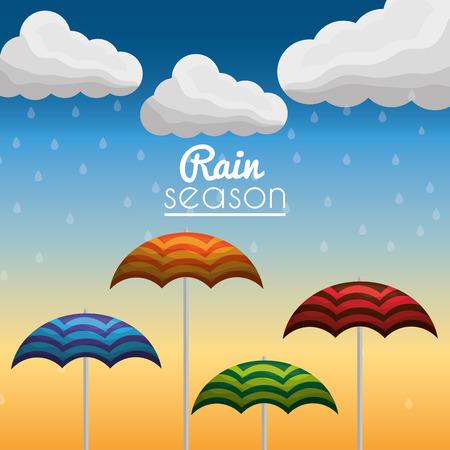 rain season open striped umbrellas cloud gradient background