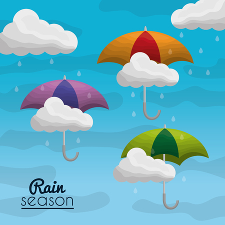 rainy season background with clouds raindrops and umbrellas