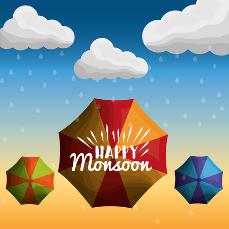 rain season happy monsoon clouds drops umbrellas poster