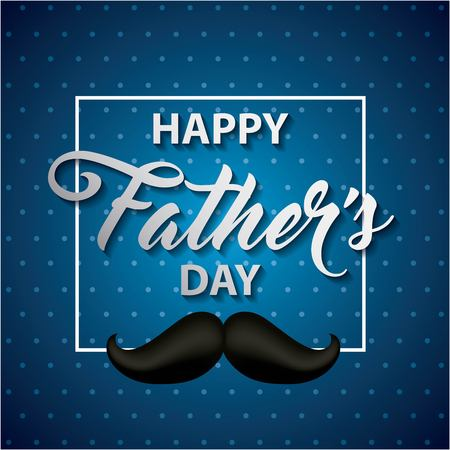 happy fathers day striped blue background sign with black moustache important date vector illustration