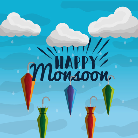 happy monsoon season falling closed umbrellas sky clouds